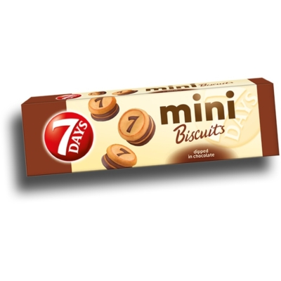 7 Days Mini Biscuit 100g Kakaós Krémmel Töltött Tejcsokival Bevont Keksz