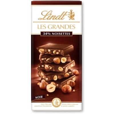 Lindt Les Grandes mogyoróval töltött étcsokoládé 150G