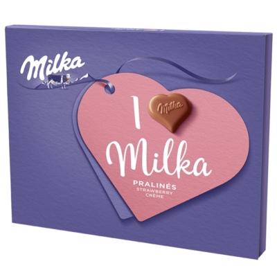 Milka Desszert joghurt-eper ízű krémmel töltött tejcsokoládé praliné 110G