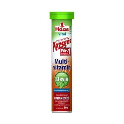 Haas Pezsgőtabletta 80G Stevia Multivitamin (Narancs)