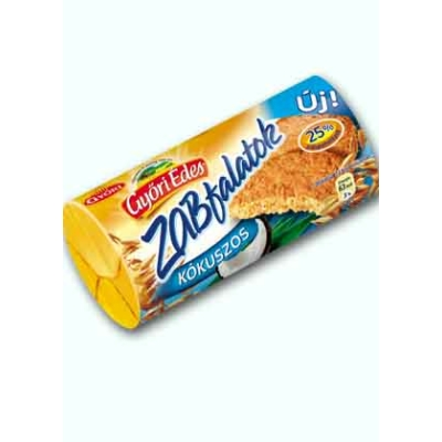 Győri Édes Zabfalatok kókuszos keksz 215 g, 24% zabpehely