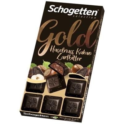 Schogetten 100G Gold Étcsokoládé Nugátkrémmel és Mogyoróval
