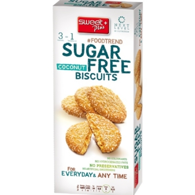 Sweet+Plus 100G SugarFree Kókuszos Keksz