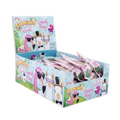 Sweet'N Fun Lama/Flamingo Candy Ring/24Db Nyalóka Gyűrű