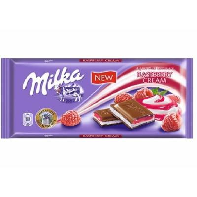 Milka Rasberry Cream málnakrémmel töltött alpesi tejcsokoládé 100G