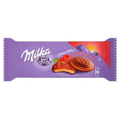 Milka Chocojaffa Alpesi tejcsokoládéval bevont piskótatallér málna ízű zselés töltelékkel 147G