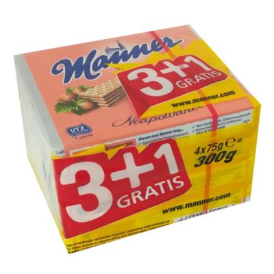 Manner Mogyorókrémmel töltött teljes kiőrlésű lisztből készült ropogós ostyaszelet, 30%-kal kevesebb cukortartalommal 300G