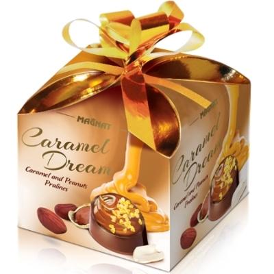 Magnat Caramel Dream karamellás-mogyorós töltelékkel töltött mogyoró darabos csokoládé praliné 40G
