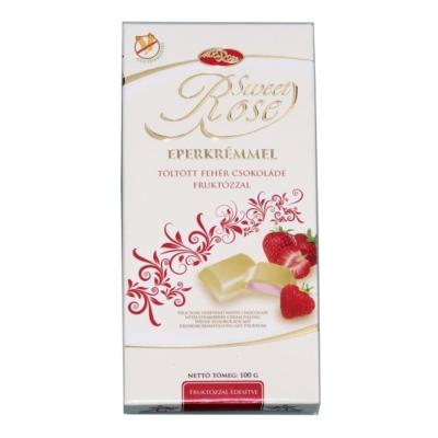 Microse Dia Rose Eperkrémmel töltött fehércsokoládé 100G Diabetikus