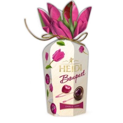 Heidi Bouquette Dark&Cherry Flower cseresznye ízű töltelékkel töltött étcsokoládé praliné 120G