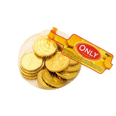 Only tejcsokoládé arany érmék hálóban 100G