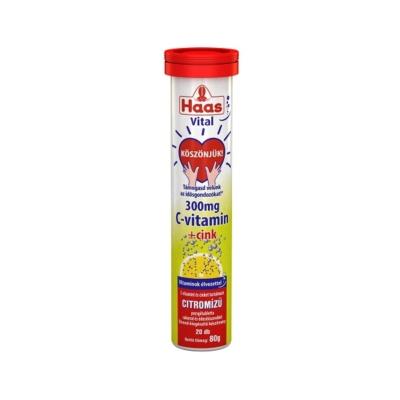 Haas citrom ízű pezsgőtabletta 80g, 300mg C-vitamin + cink