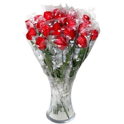Rózsaszál 20G Chocolate Rose Tejcsokoládé Műanyag Száron Kaumy
