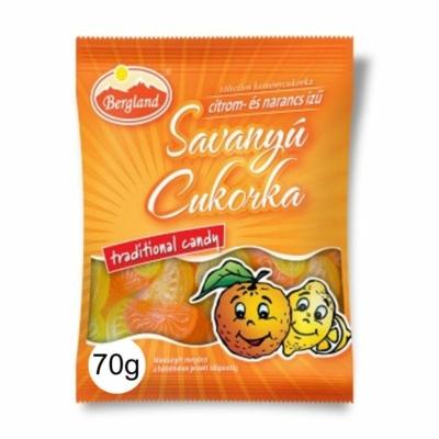 Bergland Citrom- és narancs ízű savanyú töltetlen keménycukorka 70G
