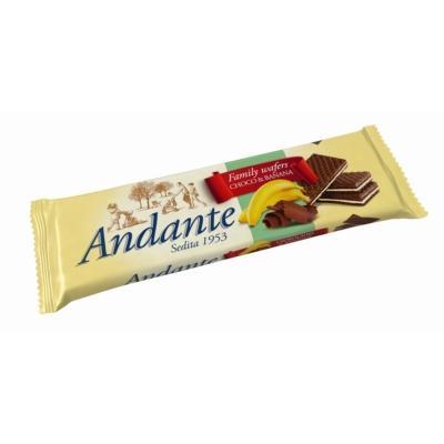 Andante banános-csokoládés ízű krémmel töltött ostyák 130G