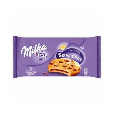 Milka tejcsokoládés töltelékkel töltött, tejcsokoládé darabos keksz 156 g