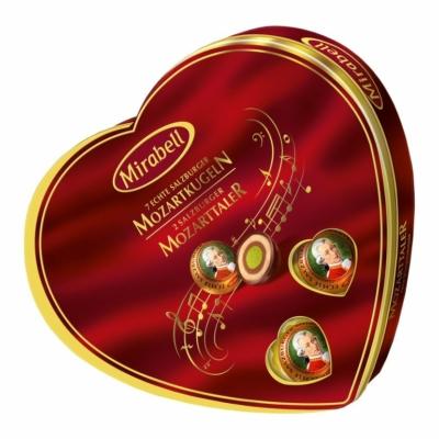 Mozart Mirabell Szív mogyoróval és marcipánnal töltött ét,tej és fehércsokoládé 159G